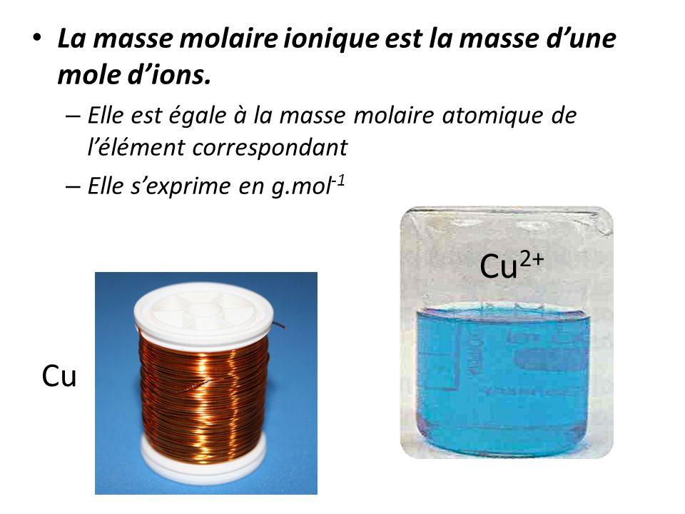 Cu2+ Cu La masse molaire ionique est la masse d'une mole d'ions.