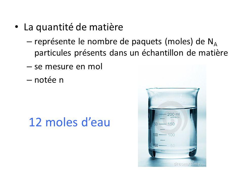 12 moles d'eau La quantité de matière