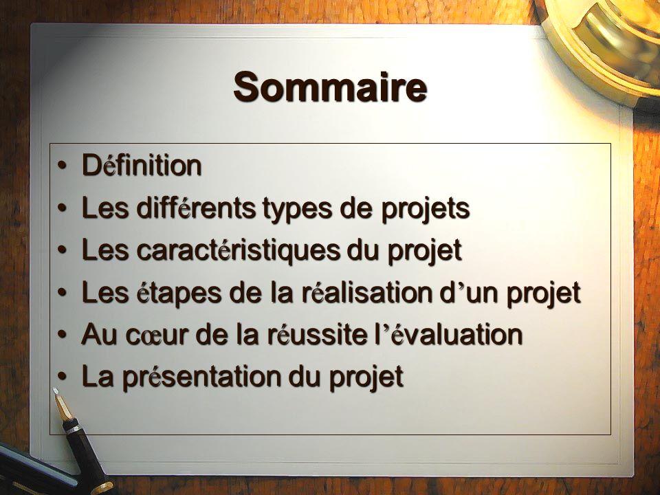 Sommaire Définition Les différents types de projets
