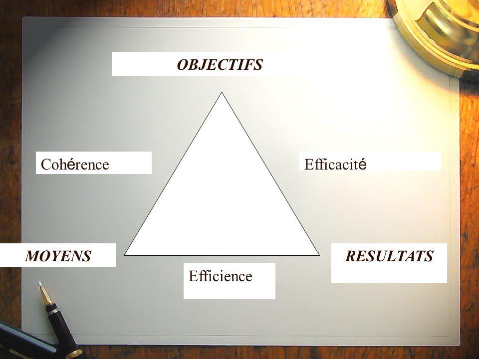 OBJECTIFS Cohérence Efficacité MOYENS RESULTATS Efficience
