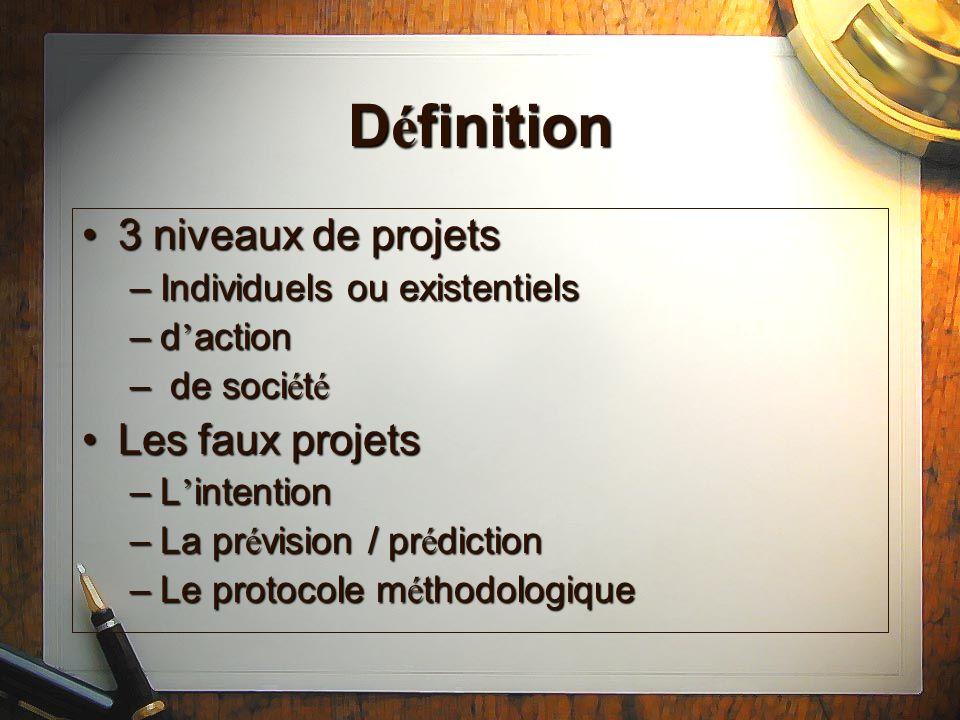 Définition 3 niveaux de projets Les faux projets
