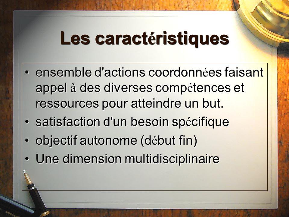 Les caractéristiques ensemble d actions coordonnées faisant appel à des diverses compétences et ressources pour atteindre un but.
