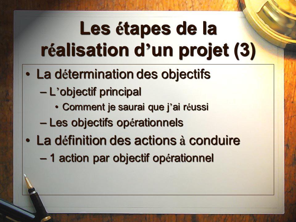 Les étapes de la réalisation d'un projet (3)
