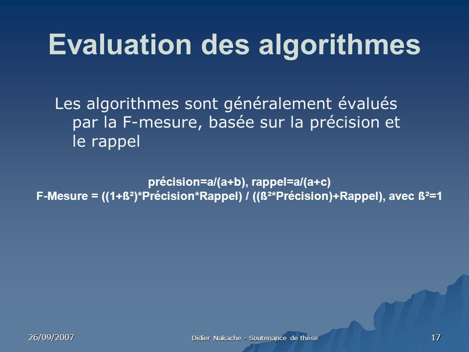 Evaluation des algorithmes