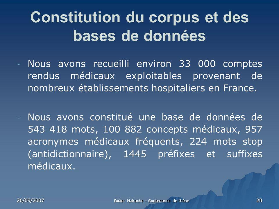 Constitution du corpus et des bases de données