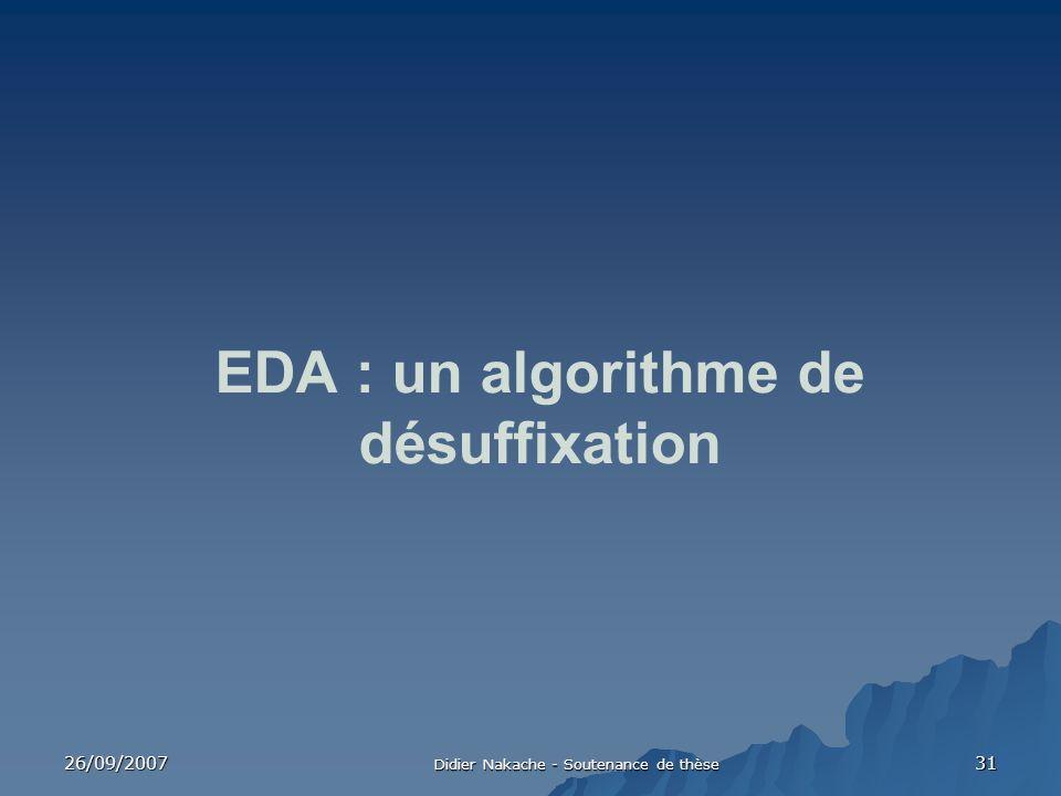 EDA : un algorithme de désuffixation