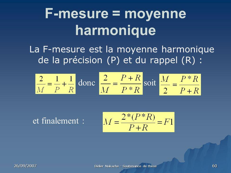 F-mesure = moyenne harmonique