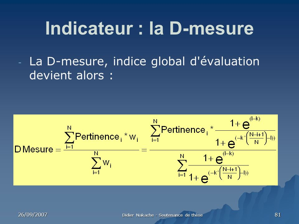 Indicateur : la D-mesure