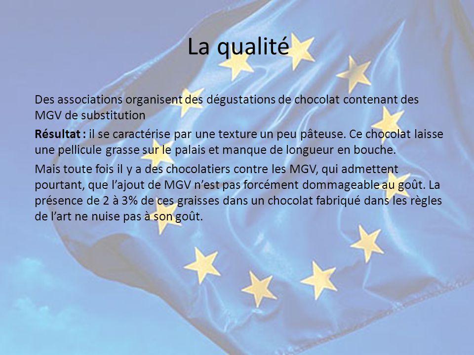 La qualité Des associations organisent des dégustations de chocolat contenant des MGV de substitution.