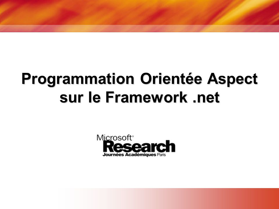 Programmation Orientée Aspect sur le Framework .net