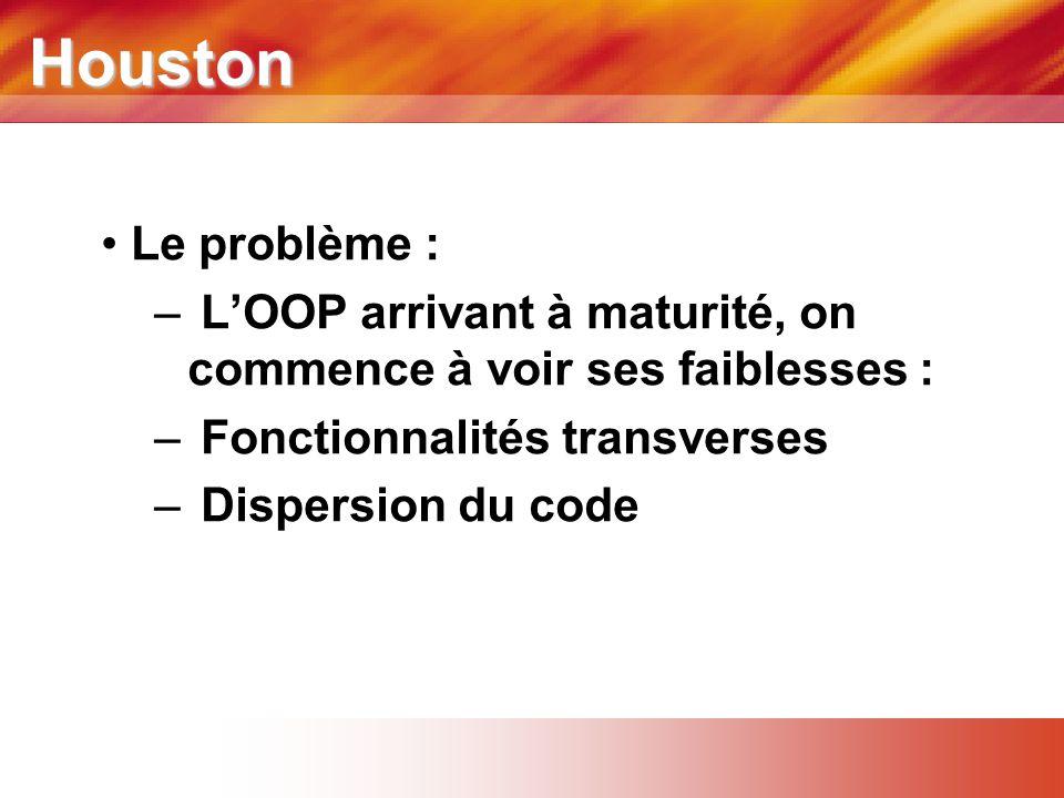 Houston Le problème : L'OOP arrivant à maturité, on commence à voir ses faiblesses : Fonctionnalités transverses.