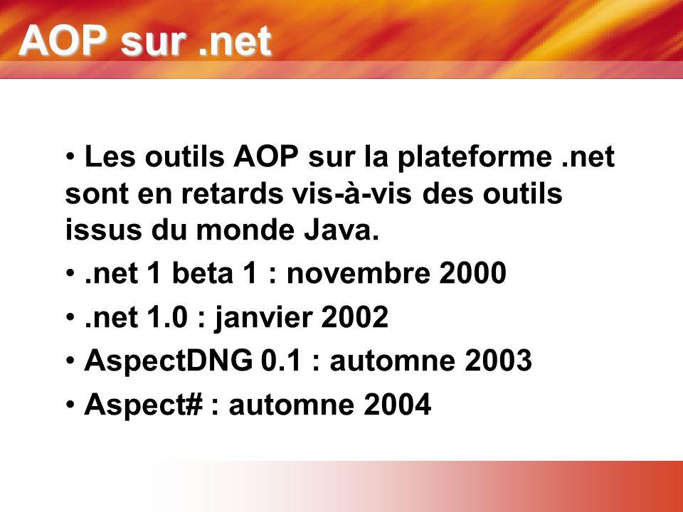 AOP sur .net Les outils AOP sur la plateforme .net sont en retards vis-à-vis des outils issus du monde Java.
