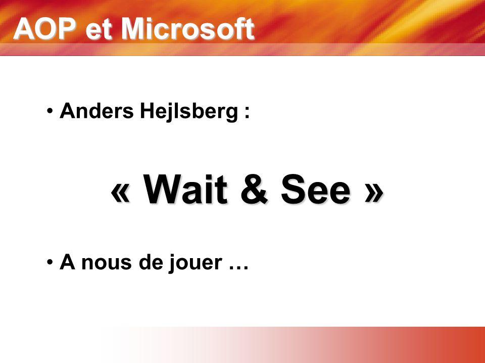 AOP et Microsoft Anders Hejlsberg : « Wait & See » A nous de jouer …