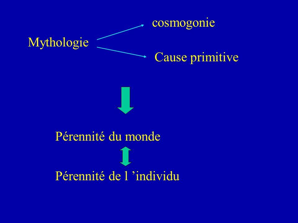 cosmogonie Mythologie Cause primitive Pérennité du monde Pérennité de l 'individu