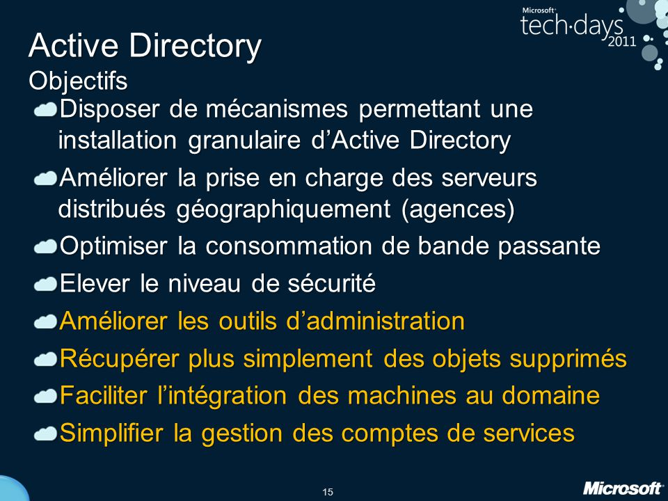 Active Directory Objectifs