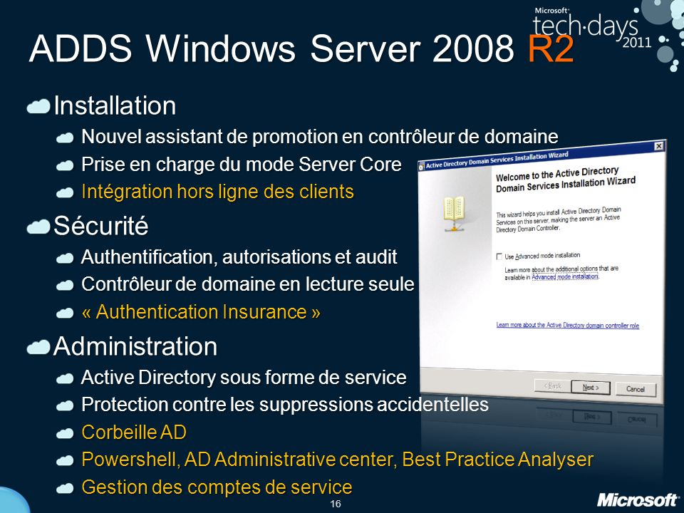 ADDS Windows Server 2008 R2 Installation Sécurité Administration