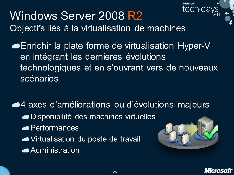 Windows Server 2008 R2 Objectifs liés à la virtualisation de machines