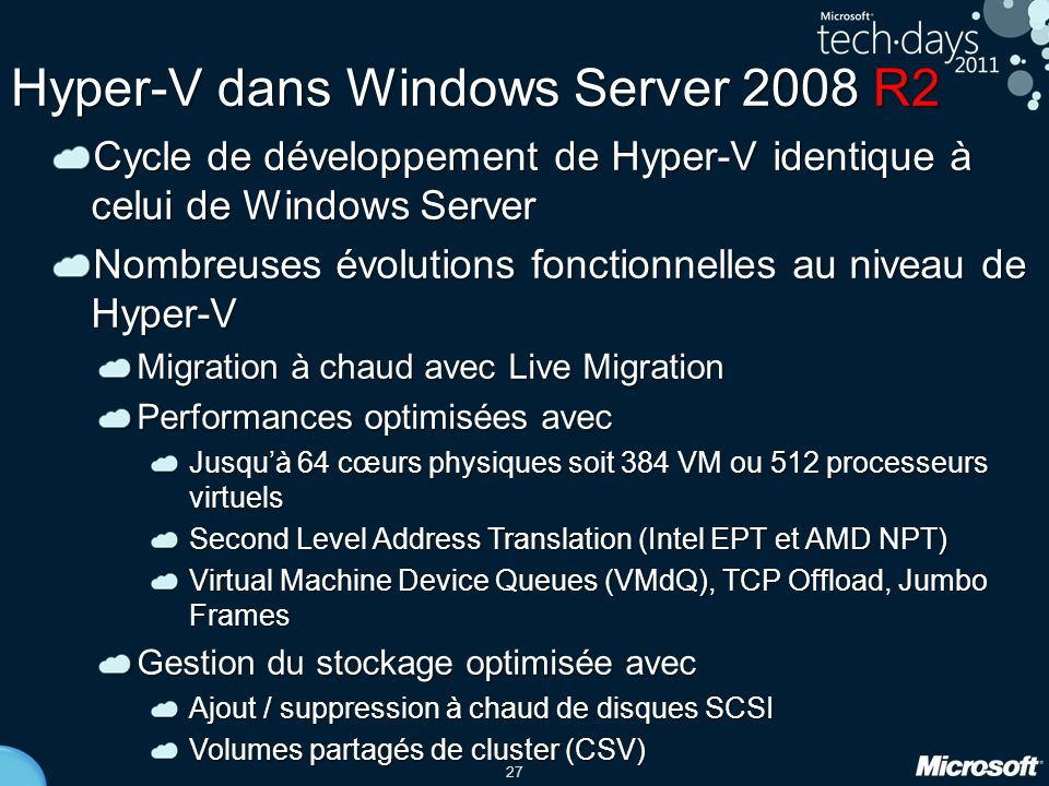 Hyper-V dans Windows Server 2008 R2