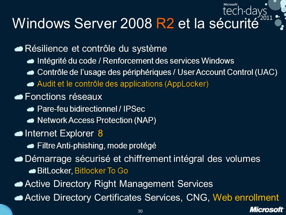 Windows Server 2008 R2 et la sécurité