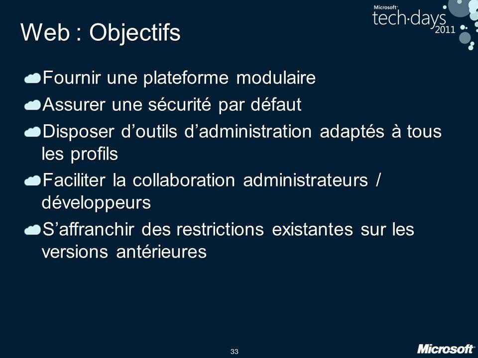 Web : Objectifs Fournir une plateforme modulaire