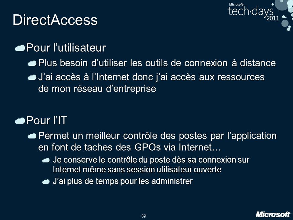 DirectAccess Pour l'utilisateur Pour l'IT