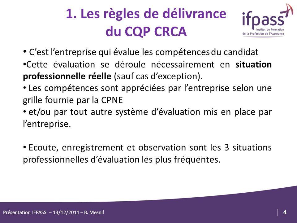 1. Les règles de délivrance du CQP CRCA