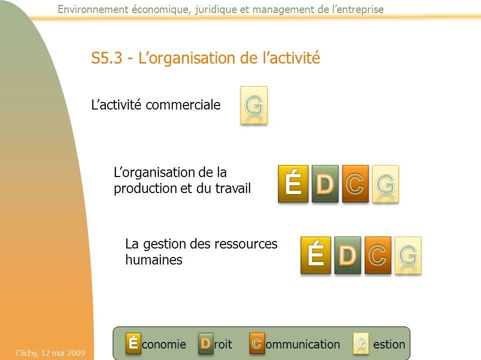 G É D C G É D C G S5.3 - L'organisation de l'activité