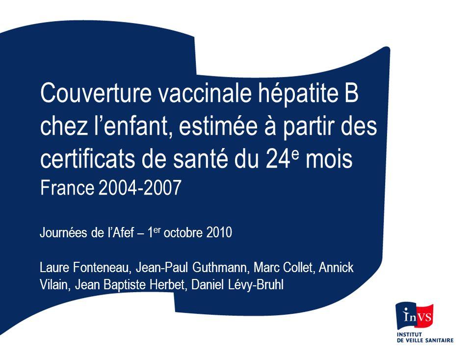 Couverture vaccinale hépatite B chez l'enfant, estimée à partir des certificats de santé du 24e mois