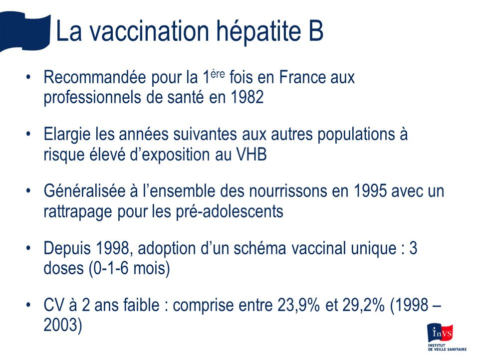 La vaccination hépatite B