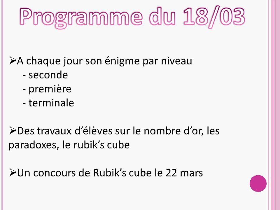 Programme du 18/03 A chaque jour son énigme par niveau seconde