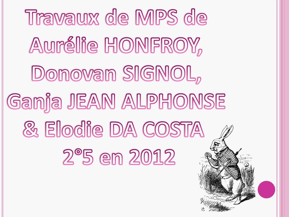 Travaux de MPS de Aurélie HONFROY, Donovan SIGNOL, Ganja JEAN ALPHONSE.