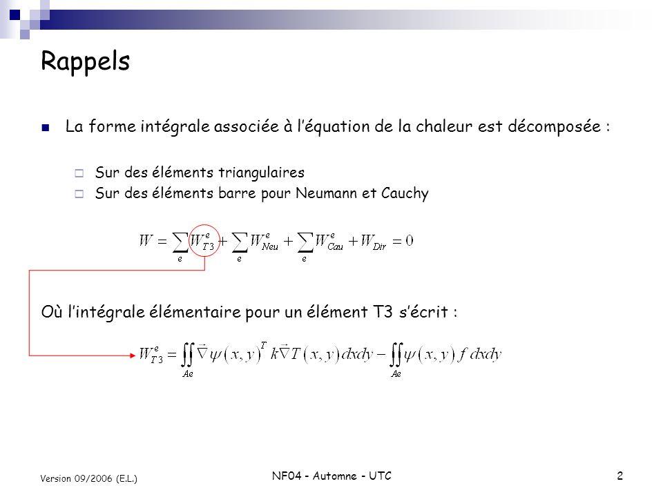 Rappels La forme intégrale associée à l'équation de la chaleur est décomposée : Sur des éléments triangulaires.