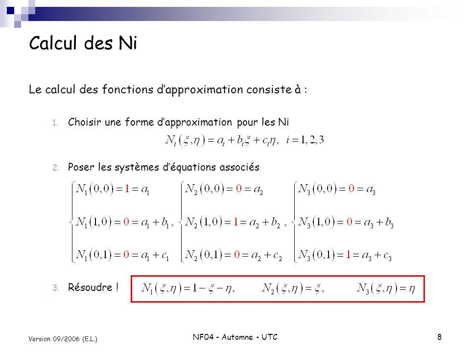 Calcul des Ni Le calcul des fonctions d'approximation consiste à :