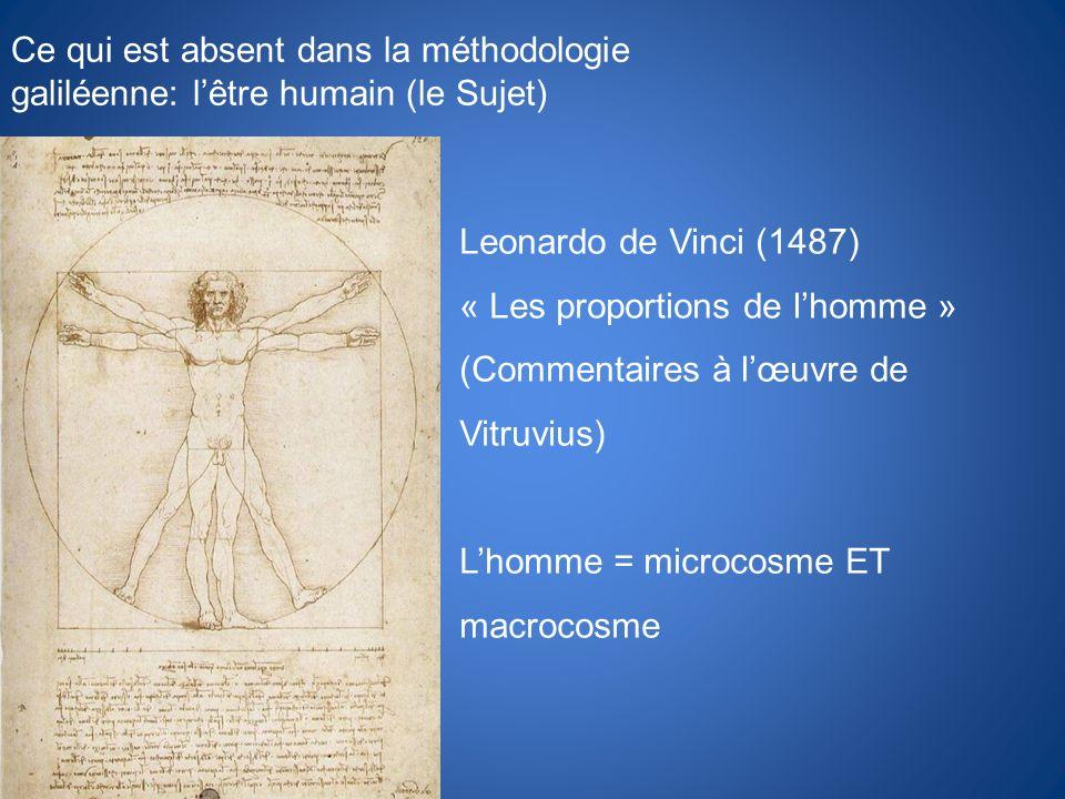 Ce qui est absent dans la méthodologie galiléenne: l'être humain (le Sujet)