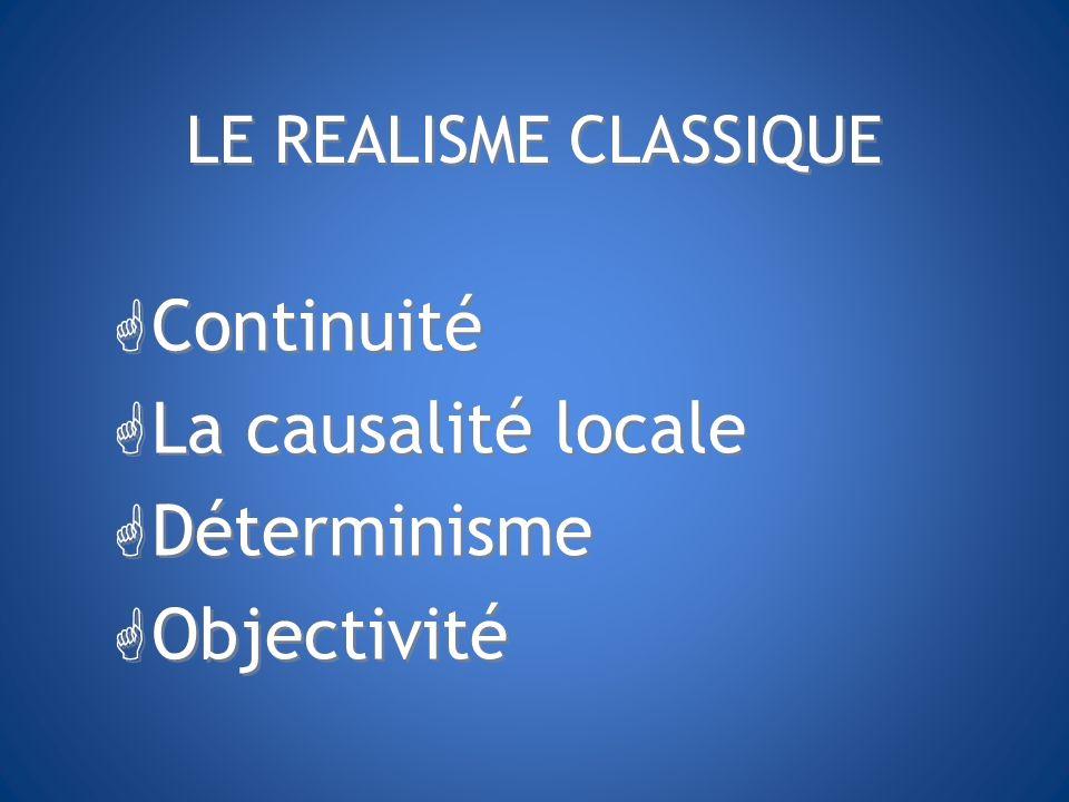 Continuité La causalité locale Déterminisme Objectivité