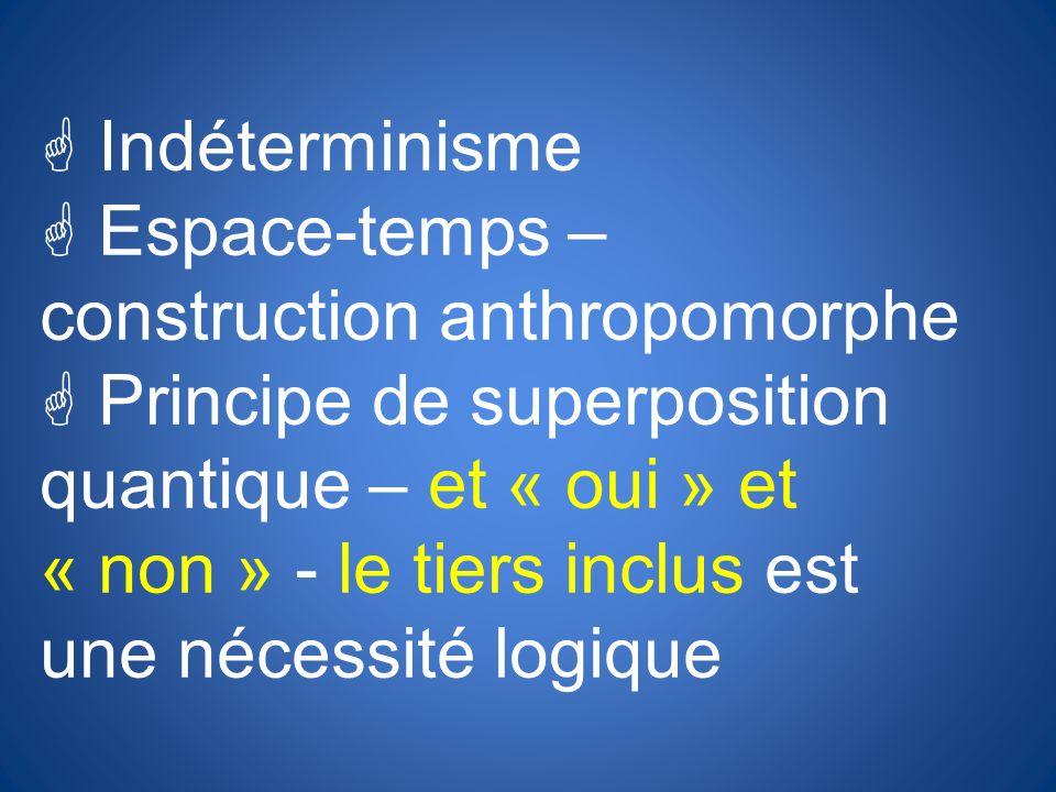 Indéterminisme Espace-temps – construction anthropomorphe.