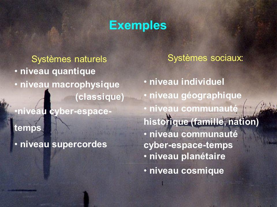 Exemples Systèmes sociaux: Systèmes naturels niveau quantique