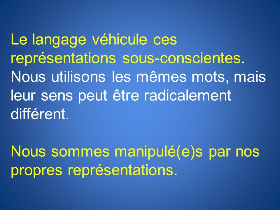 Le langage véhicule ces représentations sous-conscientes
