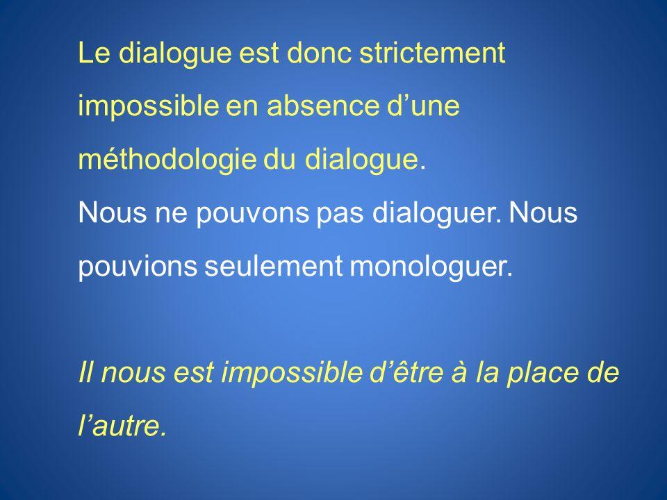 Le dialogue est donc strictement impossible en absence d'une méthodologie du dialogue.