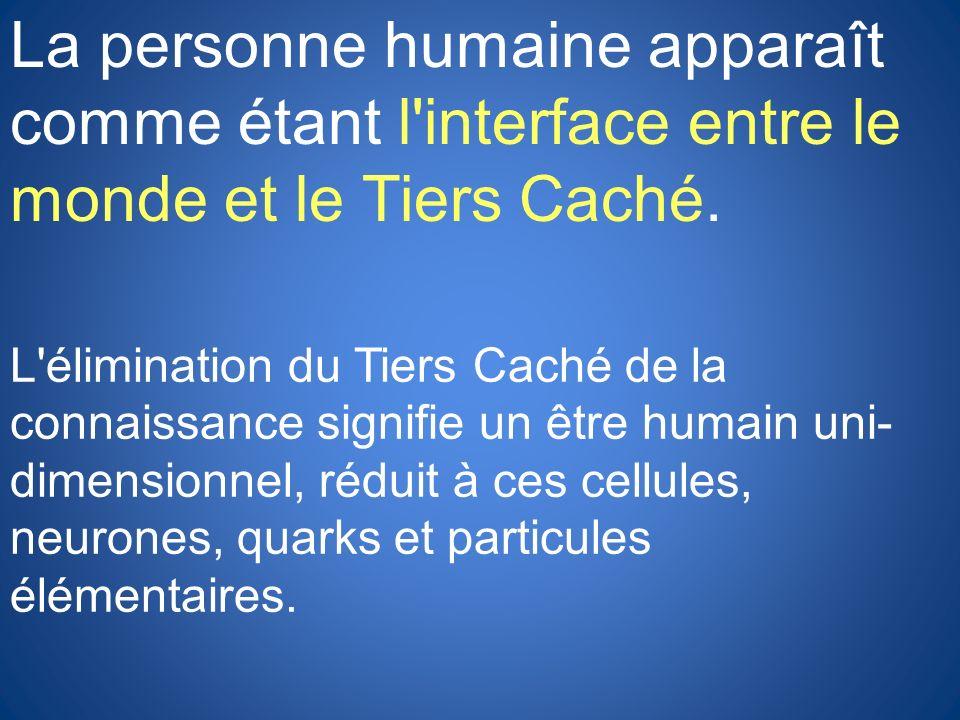 La personne humaine apparaît comme étant l interface entre le monde et le Tiers Caché.