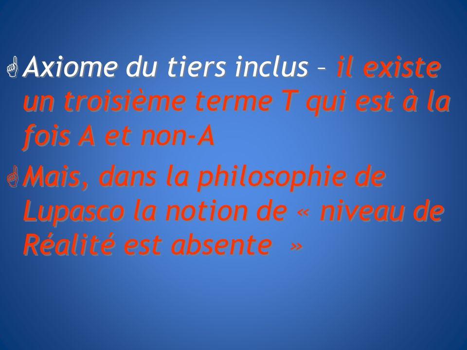 Axiome du tiers inclus – il existe un troisième terme T qui est à la fois A et non-A