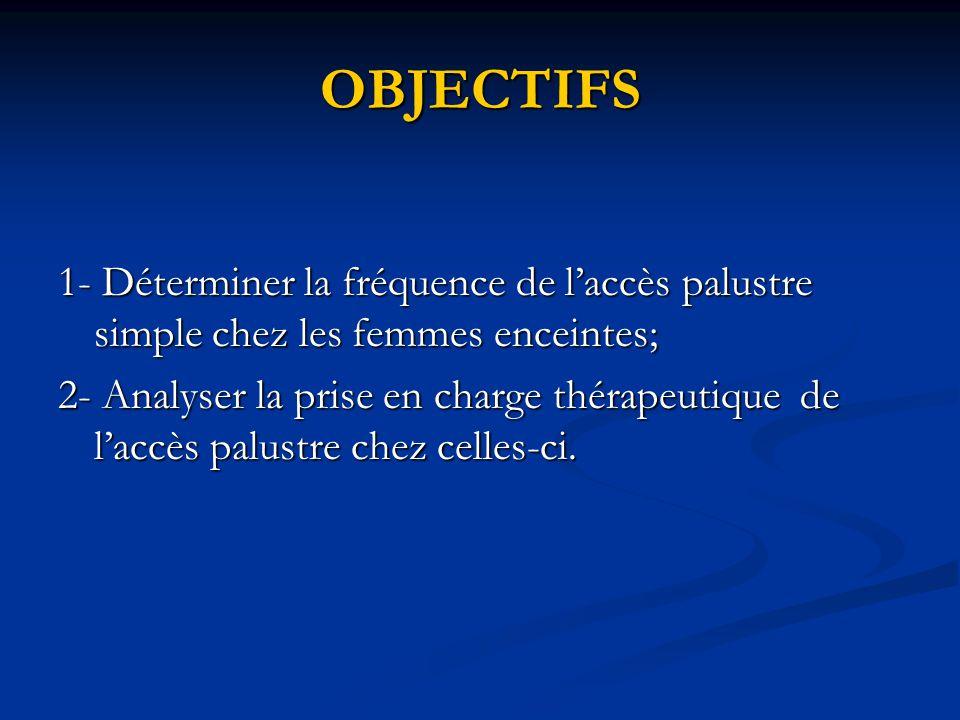 OBJECTIFS 1- Déterminer la fréquence de l'accès palustre simple chez les femmes enceintes;