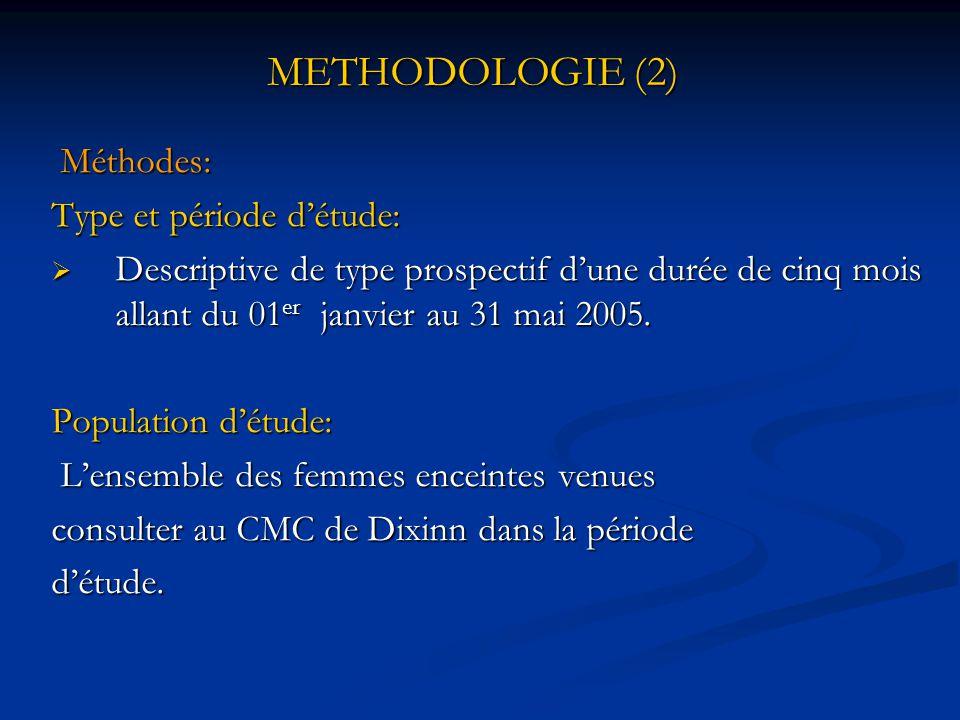 METHODOLOGIE (2) Méthodes: Type et période d'étude: