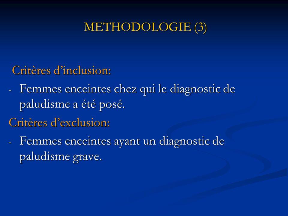 METHODOLOGIE (3) Critères d'inclusion: Femmes enceintes chez qui le diagnostic de paludisme a été posé.