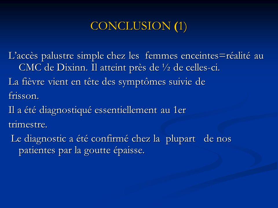 CONCLUSION (1) L'accès palustre simple chez les femmes enceintes=réalité au CMC de Dixinn. Il atteint près de ½ de celles-ci.