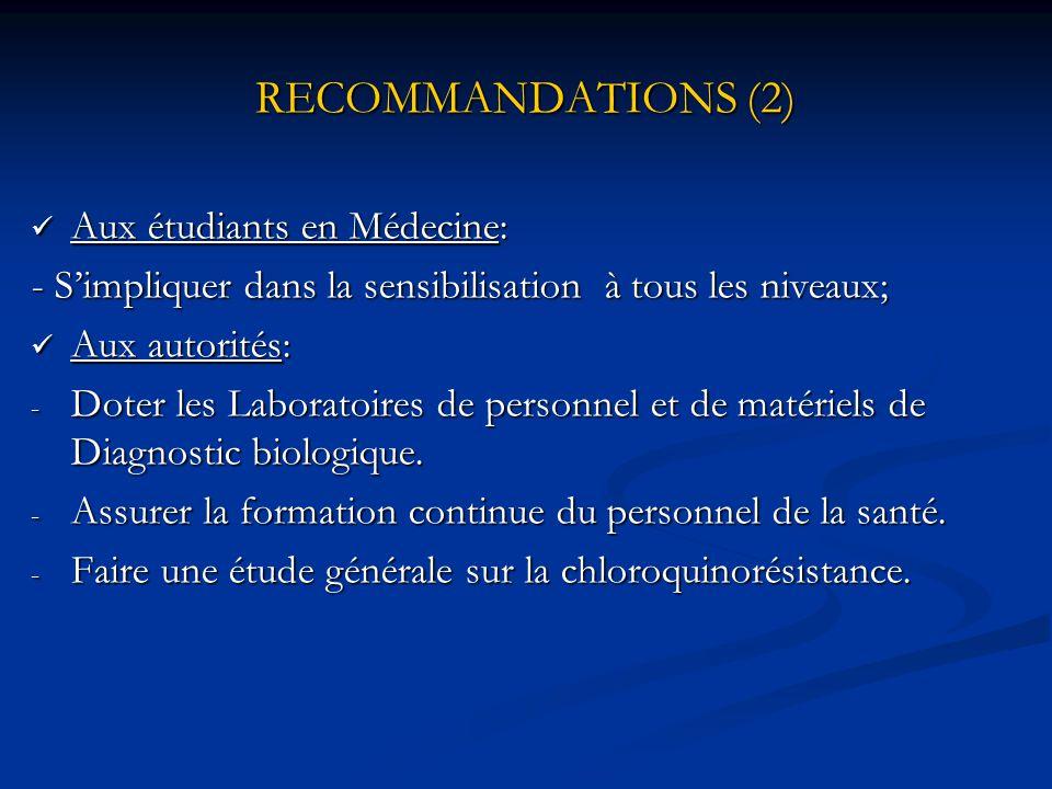 RECOMMANDATIONS (2) Aux étudiants en Médecine: