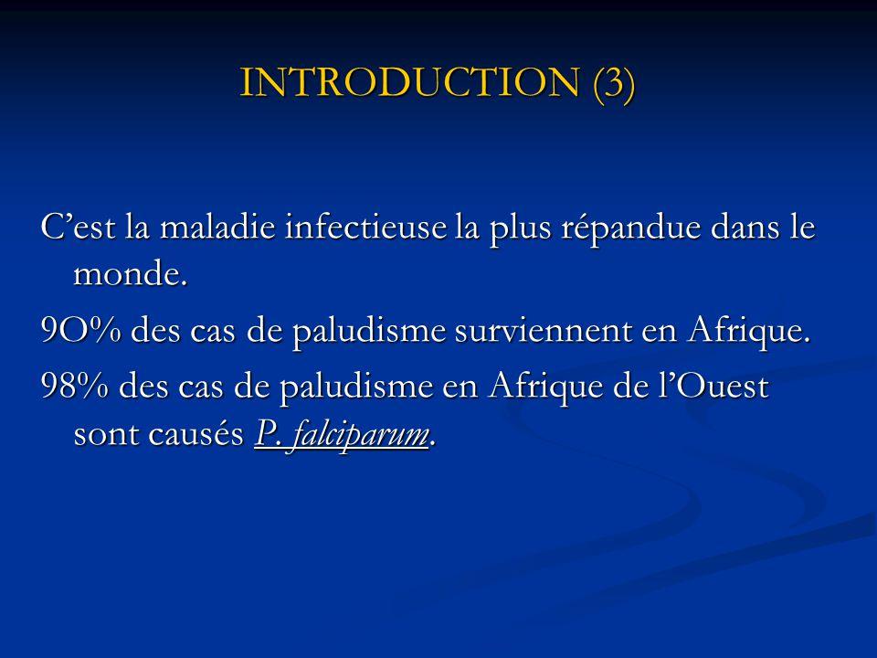 INTRODUCTION (3) C'est la maladie infectieuse la plus répandue dans le monde. 9O% des cas de paludisme surviennent en Afrique.