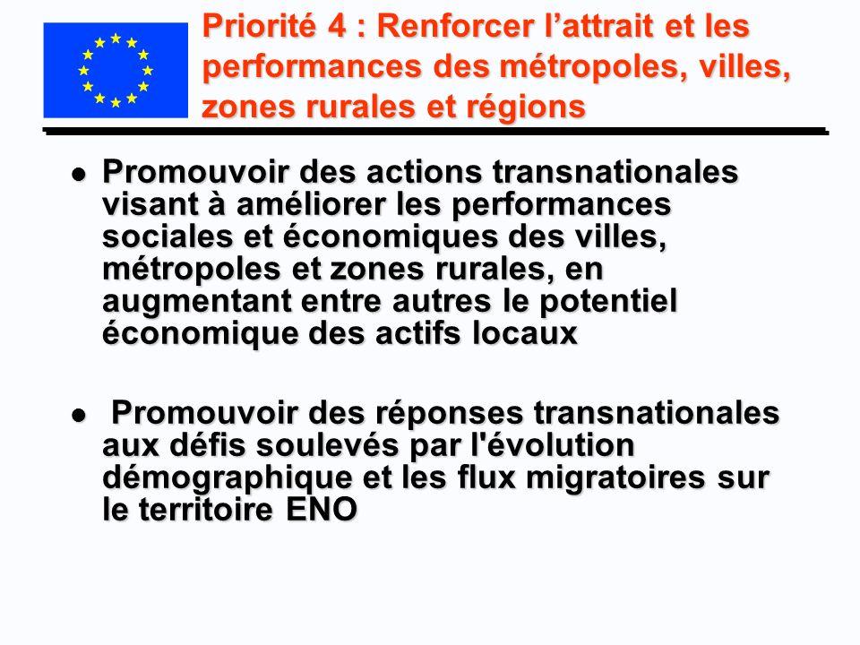 Priorité 4 : Renforcer l'attrait et les performances des métropoles, villes, zones rurales et régions