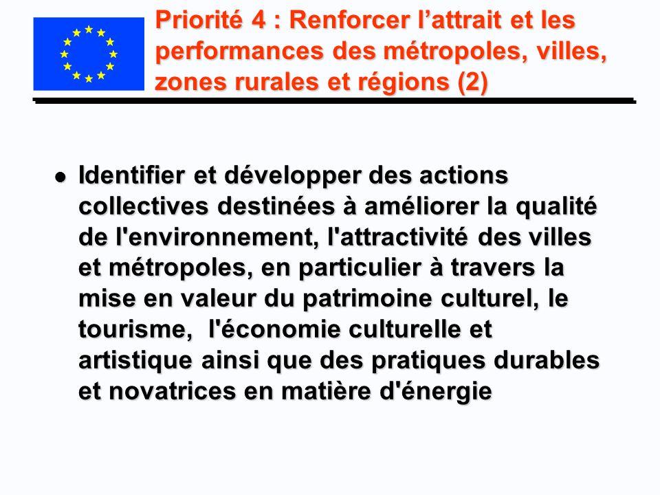 Priorité 4 : Renforcer l'attrait et les performances des métropoles, villes, zones rurales et régions (2)
