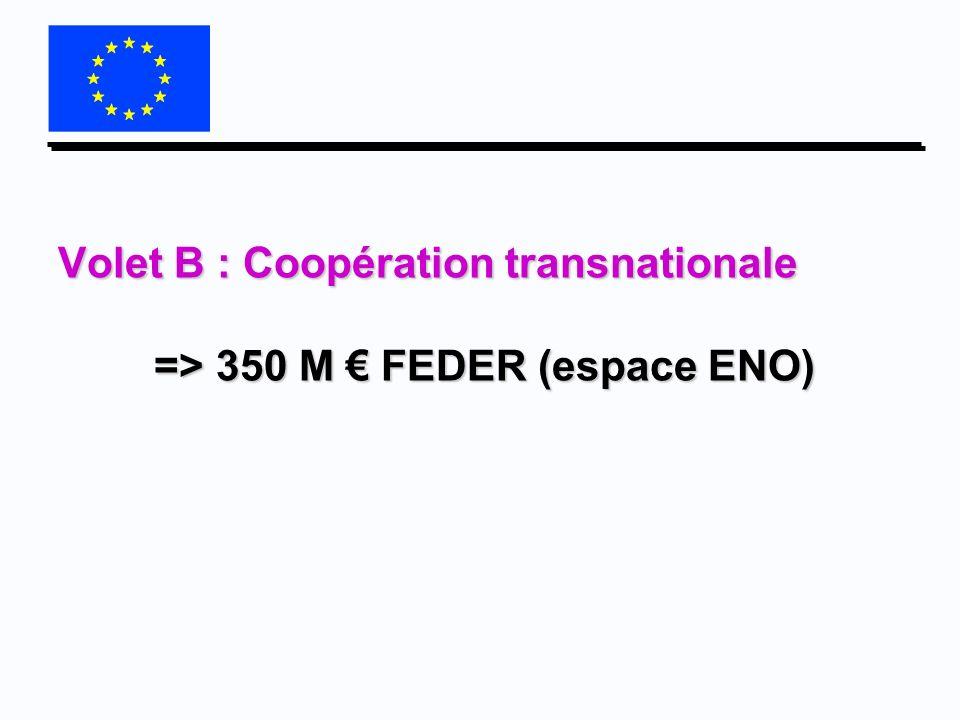 Volet B : Coopération transnationale => 350 M € FEDER (espace ENO)